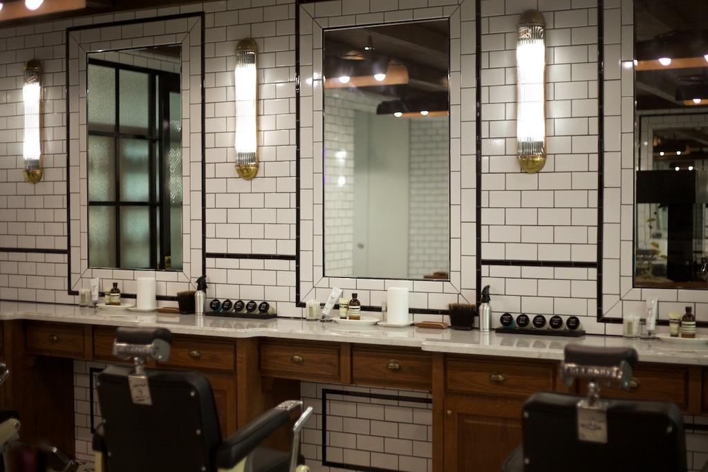 subway tile   R O C K R O S E W I N E - Modern Barber Shop Interior