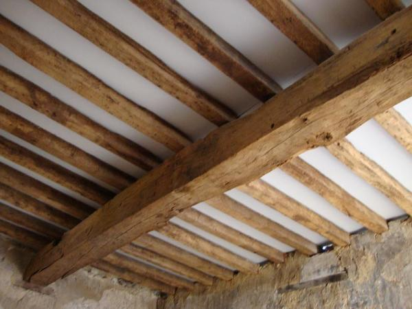Exposed beams and joists rockrosewine for Floor joist insulation